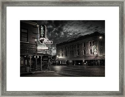 Main And Exchange Bw Framed Print by Joan Carroll