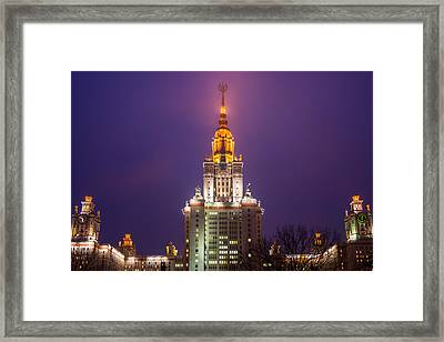 Main Building Of Moscow State University At Winter Evening - Featured 3 Framed Print by Alexander Senin