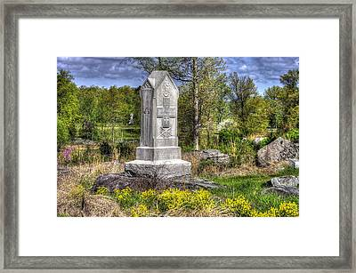 Maine At Gettysburg - 5th Maine Volunteer Infantry Regiment Just North Of Little Round Top Framed Print by Michael Mazaika