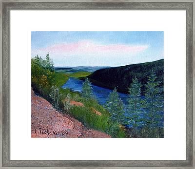 Maine Jordon Pond Framed Print by Laura Tasheiko