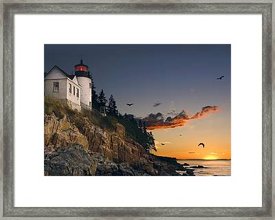 Maine Lighthouse Framed Print by Daniel Hagerman