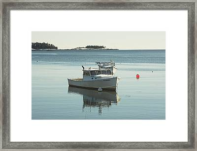 Maine Lobster Boats In Winter Framed Print by Keith Webber Jr