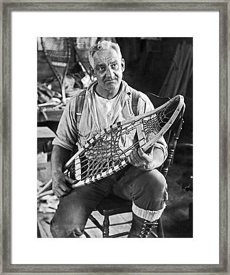 Maine Man Makes Snowshoes Framed Print by Underwood Archives