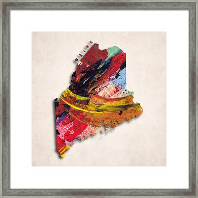 Maine Map Art - Painted Map Of Maine Framed Print by World Art Prints And Designs