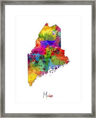 Maine Map Framed Print by Michael Tompsett