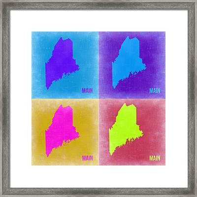 Maine Pop Art Map 2 Framed Print by Naxart Studio