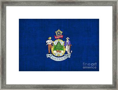 Maine State Flag Framed Print by Pixel Chimp