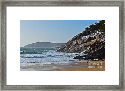 Maine Surfing Scene Framed Print by Meandering Photography