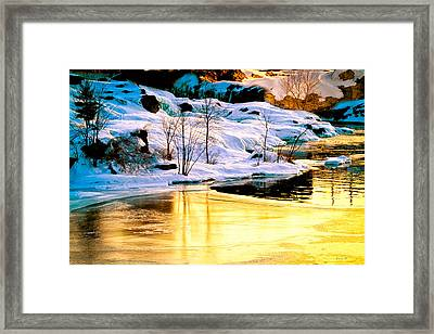 Maine Winter Along The Androscoggin River Framed Print by Bob Orsillo