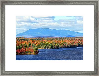 Maine's Mt. Katahdin In Autumn Framed Print by Barbara West
