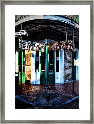 Maison Bourbon Dedicated To The Preservation Of Jazz Framed Print by Bill Cannon