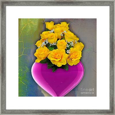 Majenta Heart Vase With Yellow Roses Framed Print by Marvin Blaine