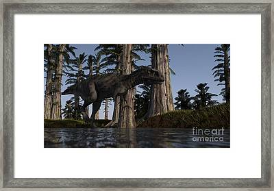 Majungasaurus Hunting For Food Framed Print by Kostyantyn Ivanyshen
