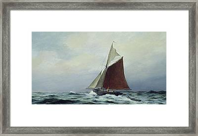 Making Sail After A Blow Framed Print by Vic Trevett