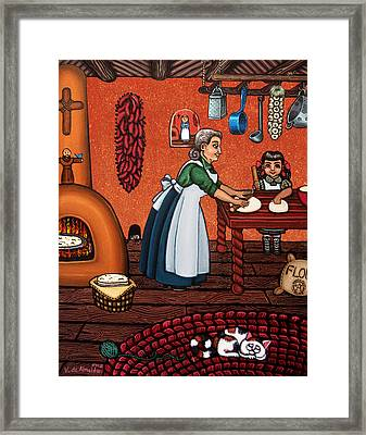 Making Tortillas Framed Print by Victoria De Almeida