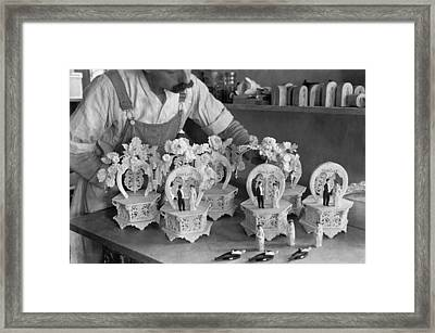 Making Wedding Cake Ornaments Framed Print by Underwood Archives