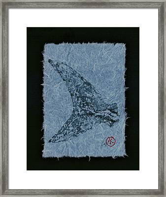 Mako Tail On Pale Blue Unryu Paper Framed Print by Jeffrey Canha
