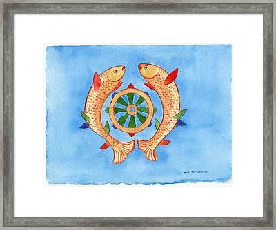 Makya Golden Fish Framed Print by Wicki Van De Veer