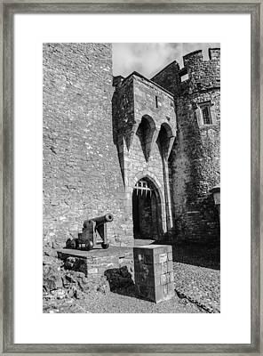 Malahide Cannon In Black And White Framed Print by AMB Fine Art Photography