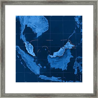 Malaysia Topographic Map Framed Print by Frank Ramspott
