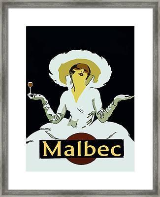 Malbec Vintage Wine Lady Framed Print by Fig Street Studio