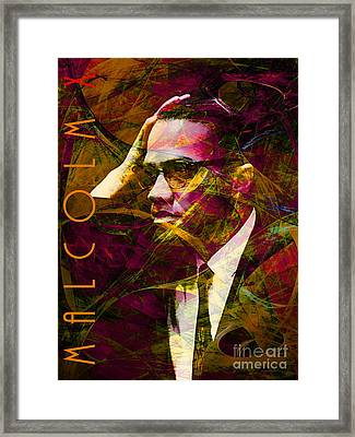 Malcolm X 20140105 With Text Framed Print by Wingsdomain Art and Photography