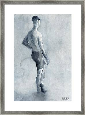 Male Figure Watercolor Painting Black And White Framed Print by Beverly Brown