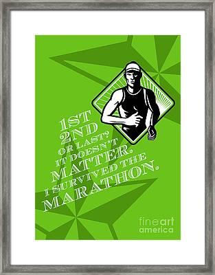 Male Marathon Runner Retro Poster Framed Print by Aloysius Patrimonio