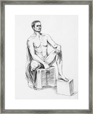 Male Model Seated Charcoal Study Framed Print by Irina Sztukowski