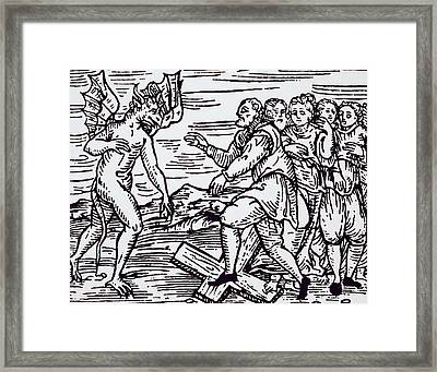 Male Witch Renouncing Christ Framed Print by Italian School
