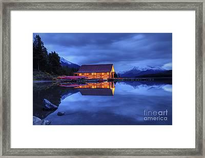 Maligne Lake Boat House Before Dawn Framed Print by Dan Jurak