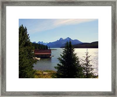 Maligne Lake Boathouse Framed Print by Karen Wiles