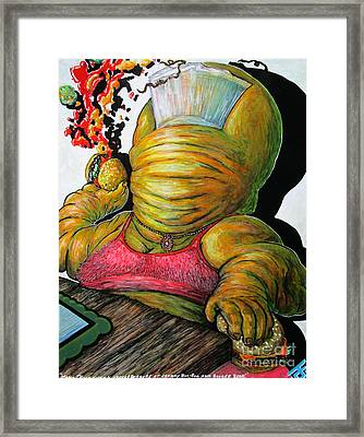 Mama Thune Tossing Cheeseburgers At Crummy Boo Boo And Booger Bear Framed Print by John Foss