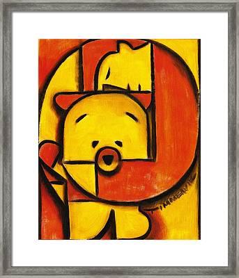 Man And Teddy Bear Art Print Framed Print by Tommervik