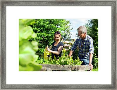 Man And Woman Watering Plants Framed Print by Gombert, Sigrid