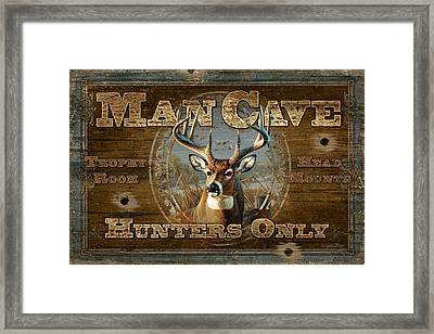 Man Cave Deer Framed Print by JQ Licensing