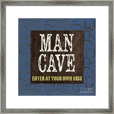 Man Cave Enter At Your Own Risk Framed Print by Debbie DeWitt