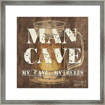 Man Cave My Cave My Rules Framed Print by Debbie DeWitt