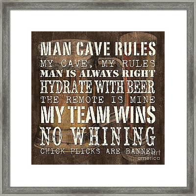 Man Cave Rules Square Framed Print by Debbie DeWitt