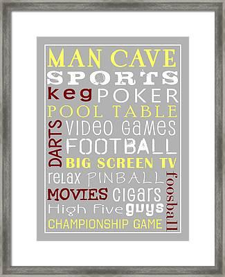Man Cave Subway Art Framed Print by Jaime Friedman