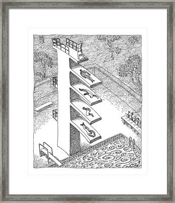 Man Does A Handstand On Top Of A Four Tiered Framed Print by John O'Brien