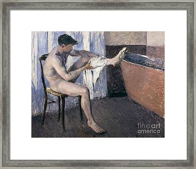 Man Drying His Leg  Framed Print by Gustave Caillebotte