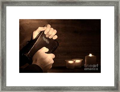 Man Hands And Bible Framed Print by Olivier Le Queinec