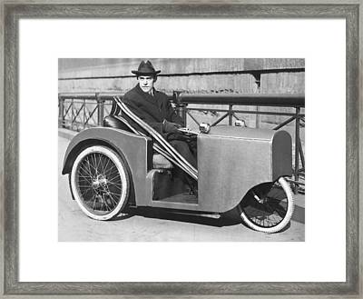 Man In Motorized Wheelchair Framed Print by Underwood Archives