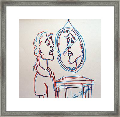 Man In The Mirror Framed Print by Linda Gail