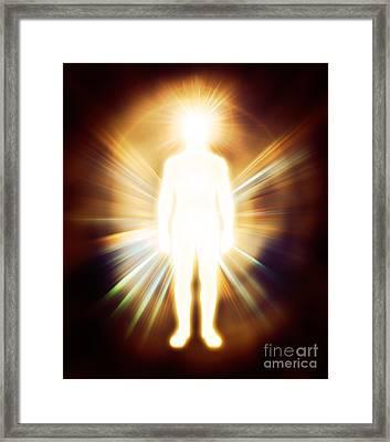 Man Luminous Ethereal Body Qi Energy Framed Print by Oleksiy Maksymenko