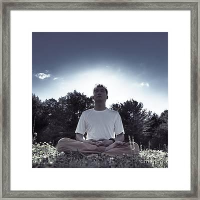 Man Meditating In The Nature During Sunrise Framed Print by Oleksiy Maksymenko