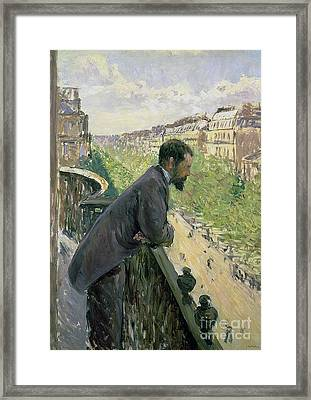 Man On A Balcony Framed Print by Gustave Caillebotte