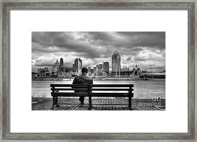 Man On A Bench Framed Print by Mel Steinhauer