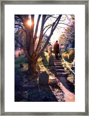 Man On Cemetery Steps Framed Print by Jill Battaglia